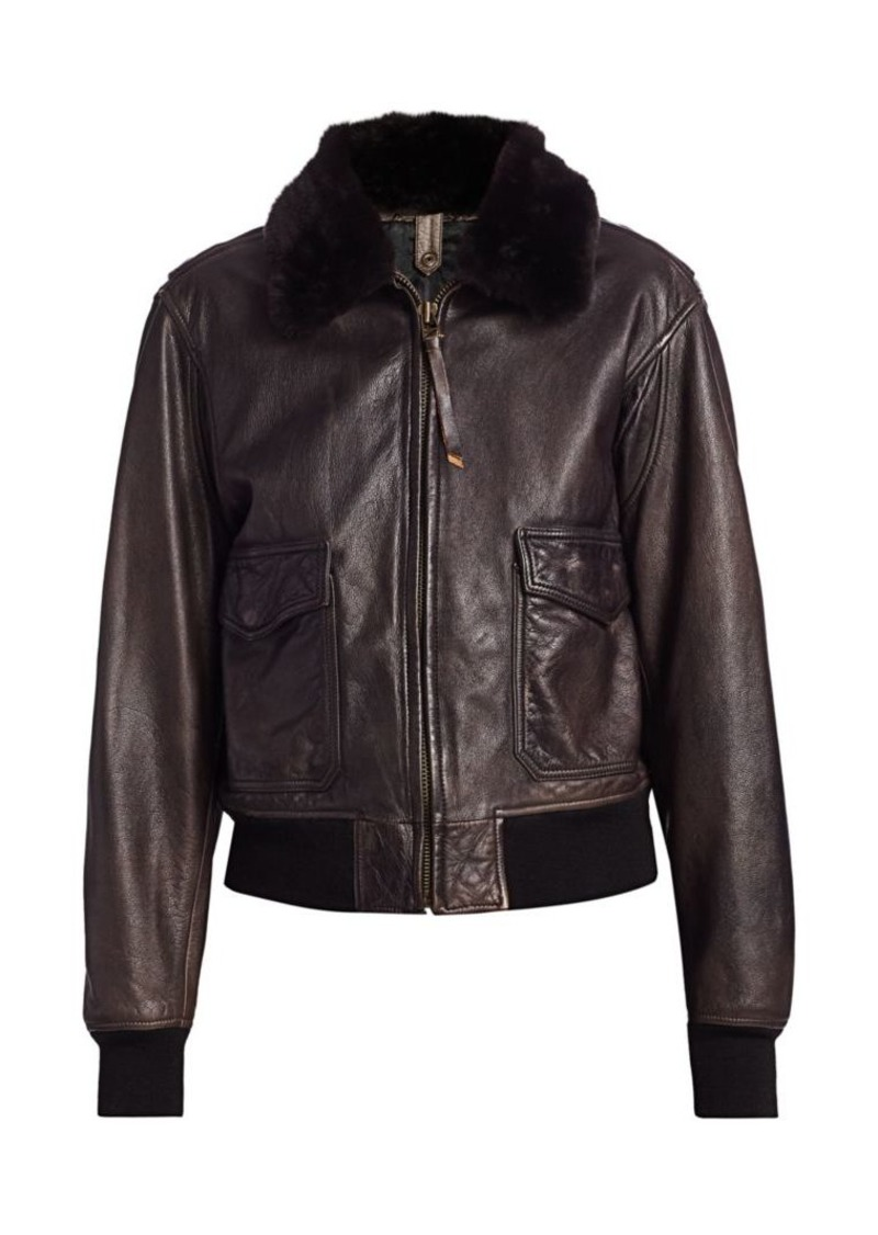 Re/Done 40s Flight Faux Shearling-Collar Leather Jacket