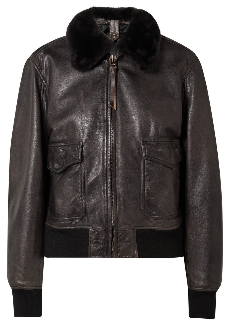 Re/Done 40s Shearling-trimmed Leather Jacket