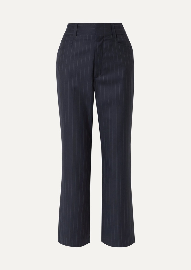 70s Cropped Pinstriped Wool Bootcut Pants