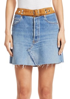 Re/Done Belted Reconstructed Denim Skirt