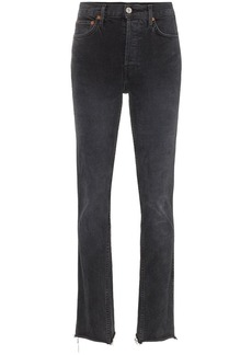 Re/Done Black double needle long straight leg jeans