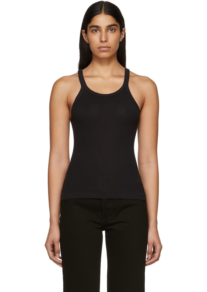 6a7ff03f85fd75 Re Done Black Ribbed Tank Top