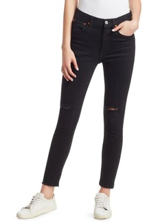 Re/Done Comfort Stretch Destroyed High-Rise Ankle Skinny
