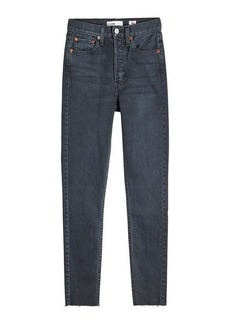 Re/Done Cropped High Rise Straight Leg Jeans