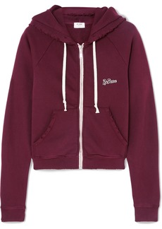 Re/Done Embroidered Stretch-cotton Terry Hoodie
