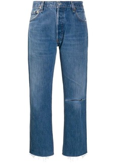 Re/Done frayed cropped jeans