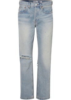 Re/Done Grunge distressed high-rise straight-leg jeans