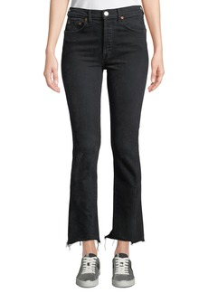 Re/Done High-Rise Double-Needle Frayed Ankle Jeans