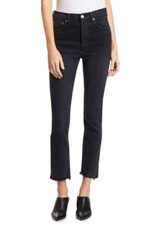 Re/Done High-Rise Skinny Raw Cropped Jeans