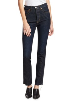 Re/Done High-Rise Skinny Raw Edge Jeans