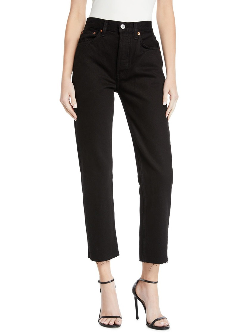 Re/Done High-Rise Stovepipe Raw-Edge Cropped Jeans