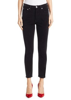 Re/Done High-Rise Velvet Ankle Crop Jeans