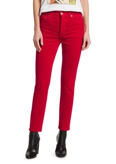 Re/Done High-Rise Velvet Ankle Crop Skinny Jeans