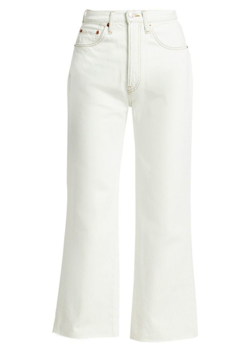 Re/Done High-Rise Wide-Leg Crop Flare Jeans