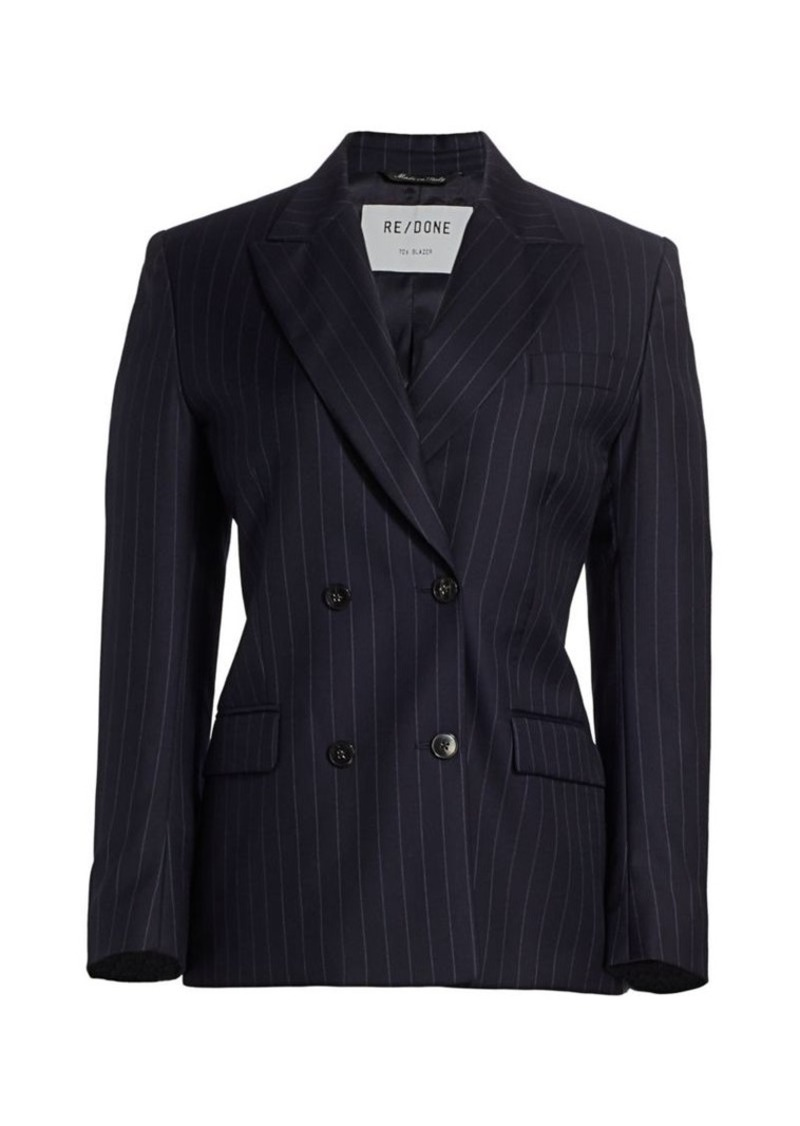 Re/Done Pinstripe Double Breasted Blazer