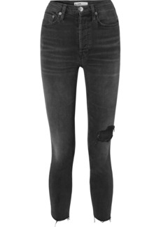 Re/Done Ultra Stretch High-rise Ankle Crop Distressed Skinny Jeans