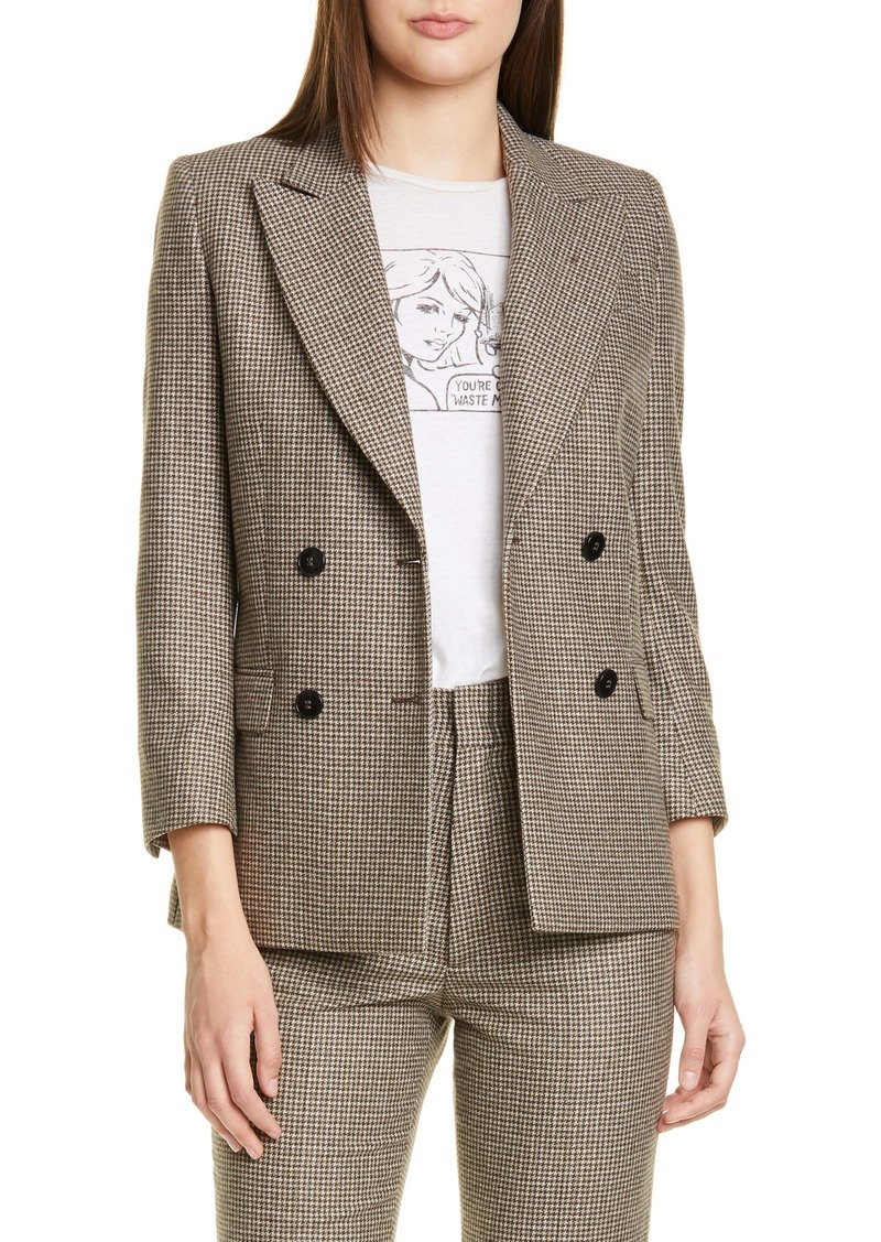 Re/Done '70s Double Breasted Houndstooth Wool Blend Blazer
