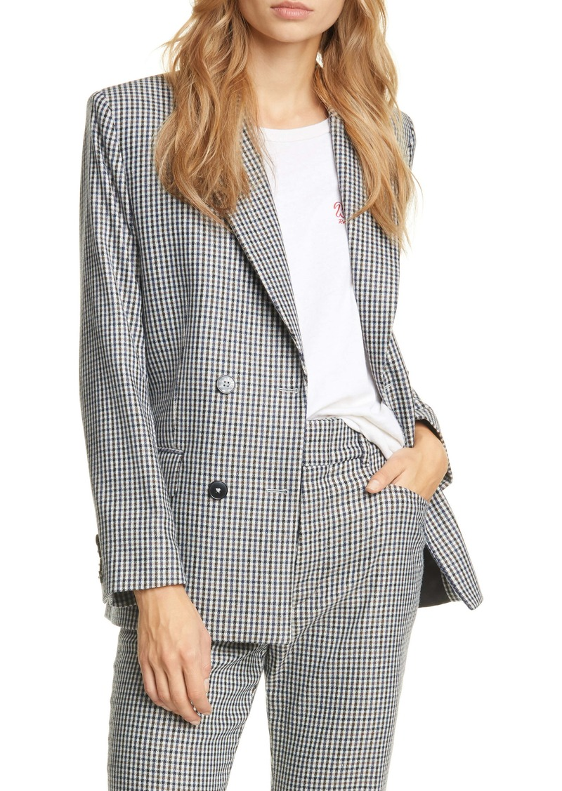 Re/Done '70s Double Breasted Plaid Blazer