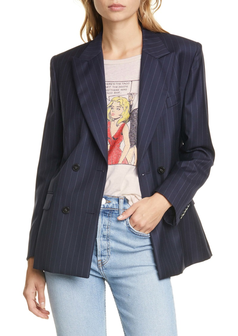 Re/Done '70s Pinstripe Double Breasted Wool Blazer
