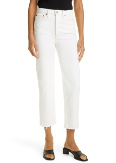 Re/Done '70s Stovepipe High Waist Slim Ankle Jeans (Vintage White)