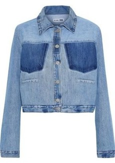 Re/done By Levi's Woman Cropped Two-tone Denim Jacket Light Denim