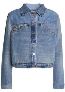 Re/done By Levi's Woman Distressed Denim Jacket Mid Denim