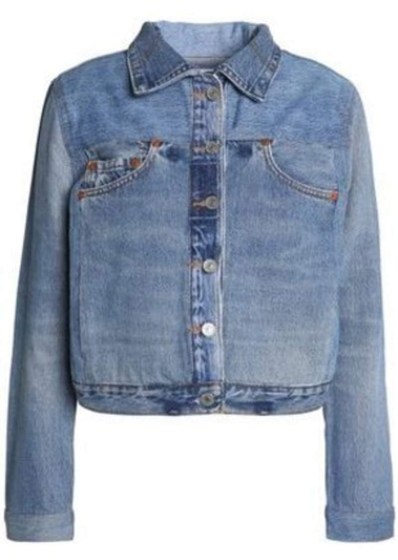 Re/done By Levi's Woman Distressed Denim Jacket Mid Denim