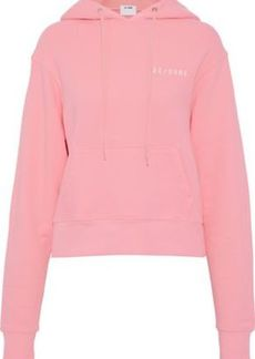 Re/done By Levi's Woman Embroidered Cotton-jersey Hooded Sweatshirt Baby Pink