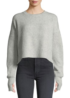 RE/DONE Cropped Wool-Cashmere Ribbed Sweater