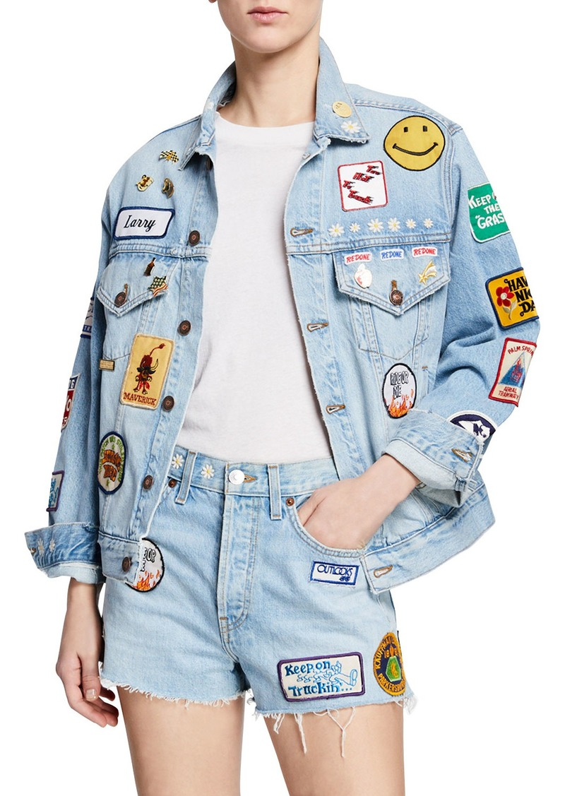 RE/DONE Embellished Distressed Denim Jacket