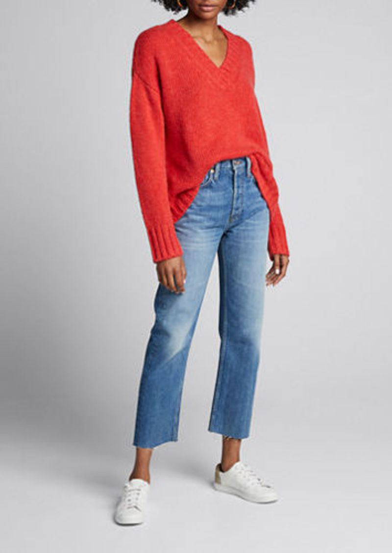 RE/DONE High-Rise Distressed Cropped Stovepipe Jeans