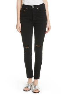 Re/Done High Waist Stretch Ankle Jeans (Black Destroy)