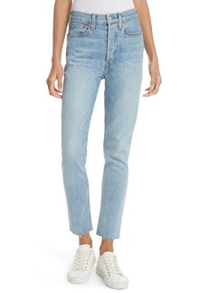 Re/Done High Waist Stretch Crop Jeans (Dark Wash)