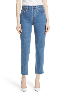 Re/Done High Waist Stove Pipe Jeans (Med Vain)