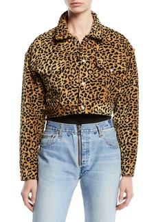 RE/DONE Leopard-Print Cropped Jacket