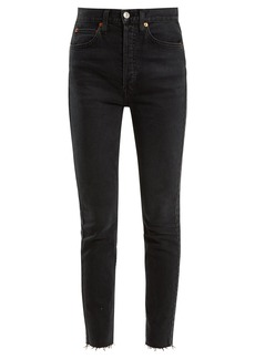 Re/Done Originals Frayed-hem high-rise skinny jeans