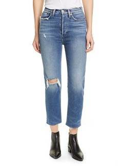 Re/Done Originals High Waist Ankle Stovepipe Jeans (Vintage Indigo Destroy)
