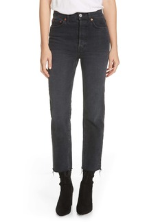 Re/Done Originals High Waist Stovepipe Jeans (Faded Black 85)
