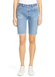 Re/Done The Long Repurposed Denim Shorts