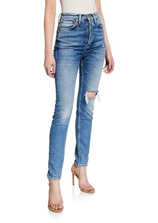 RE/DONE Ultra High-Rise Distressed Straight-Leg Jeans