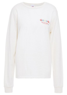 Re/done Woman + Hanes Printed Cotton-jersey Top Off-white