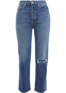 Re/done Woman 70s Stove Pipe Cropped Distressed High-rise Straight-leg Jeans Mid Denim