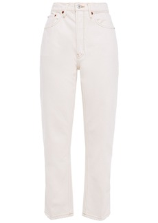 Re/done Woman 70s Stove Pipe Cropped High-rise Straight-leg Jeans Ivory