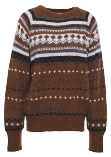 Re/done Woman Brushed Jacquard-knit Sweater Brown