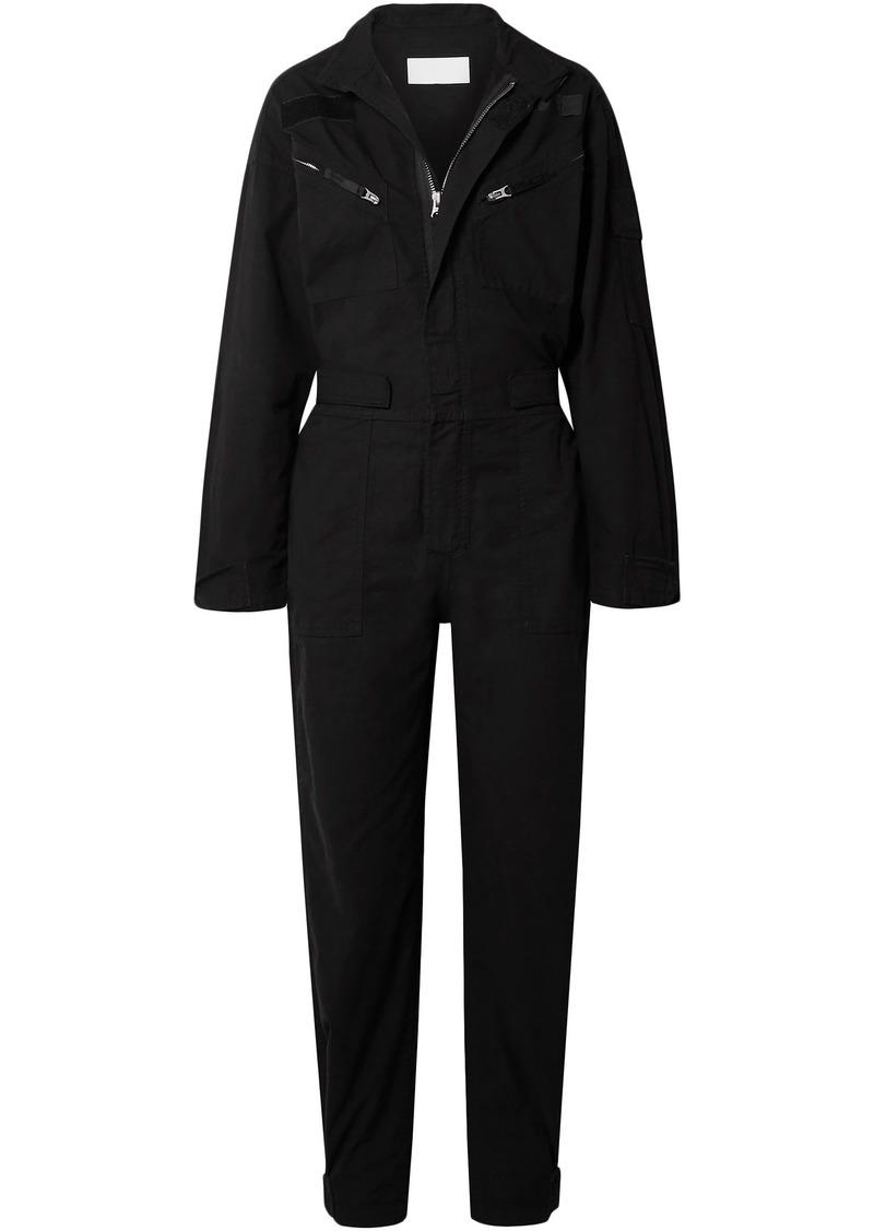 Re/done Woman Cotton-ripstop Jumpsuit Black