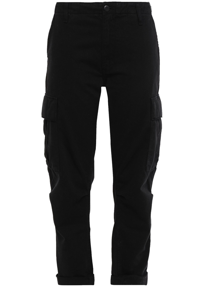 Re/done Woman Cropped Cotton-gabardine Straight-leg Pants Black
