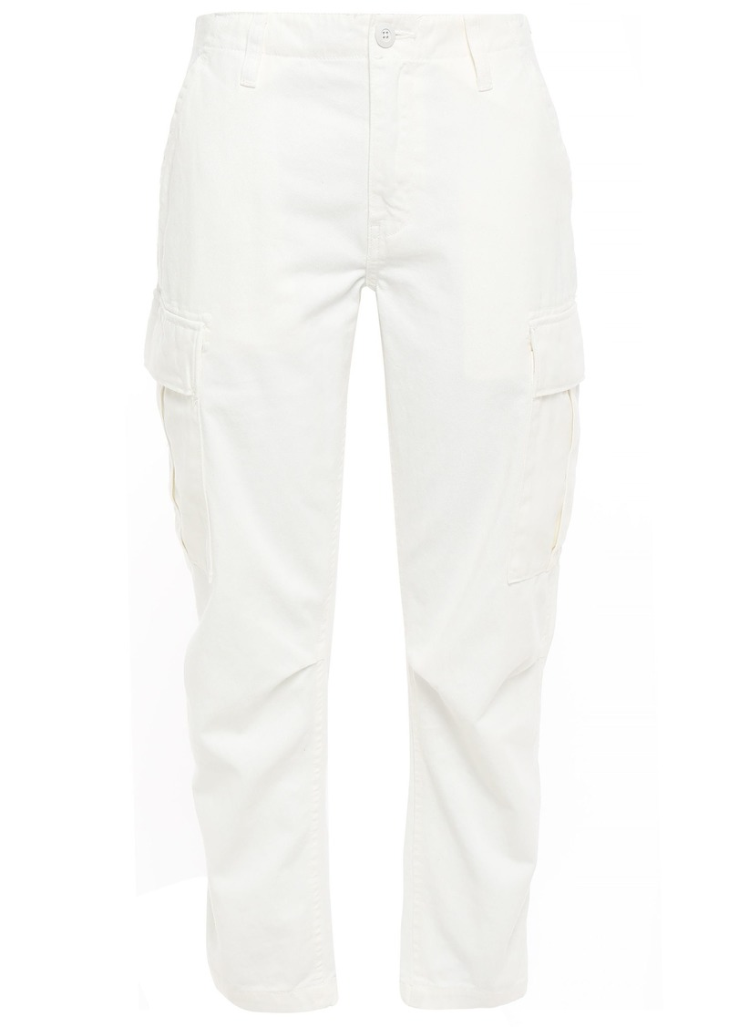 Re/done Woman Cropped Cotton-gabardine Tapered Pants Ivory