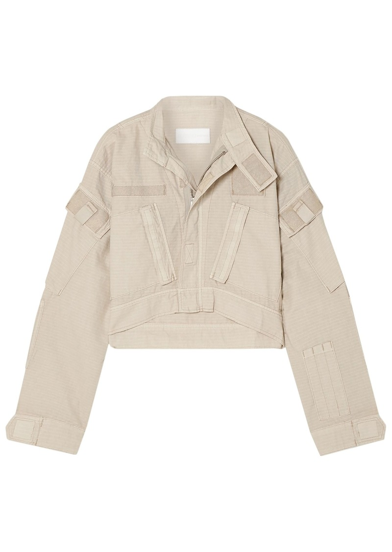 Re/done Woman Cropped Cotton-ripstop Jacket Neutral