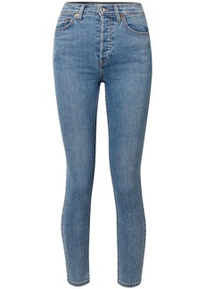 Re/done Woman Cropped Faded Mid-rise Skinny Jeans Light Denim