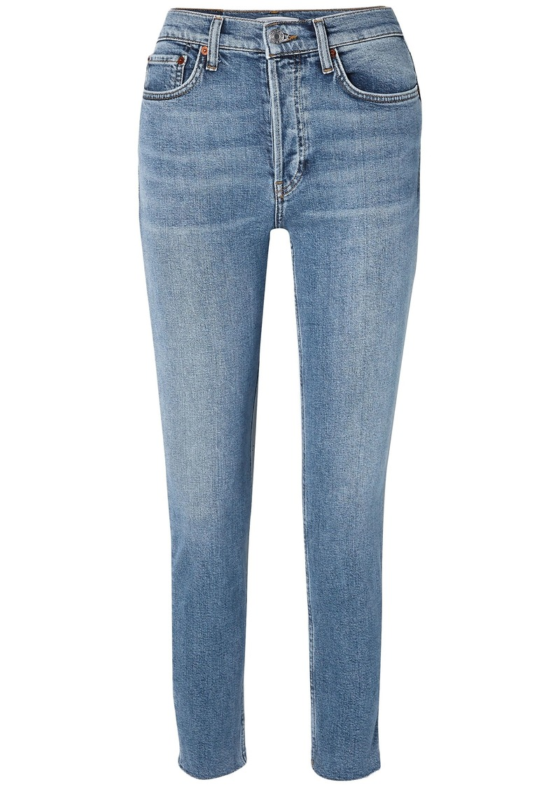 Re/done Woman Cropped High-rise Slim-leg Jeans Mid Denim